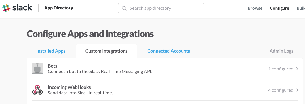 Screenshot of option to create an incoming webhook integration in Slack