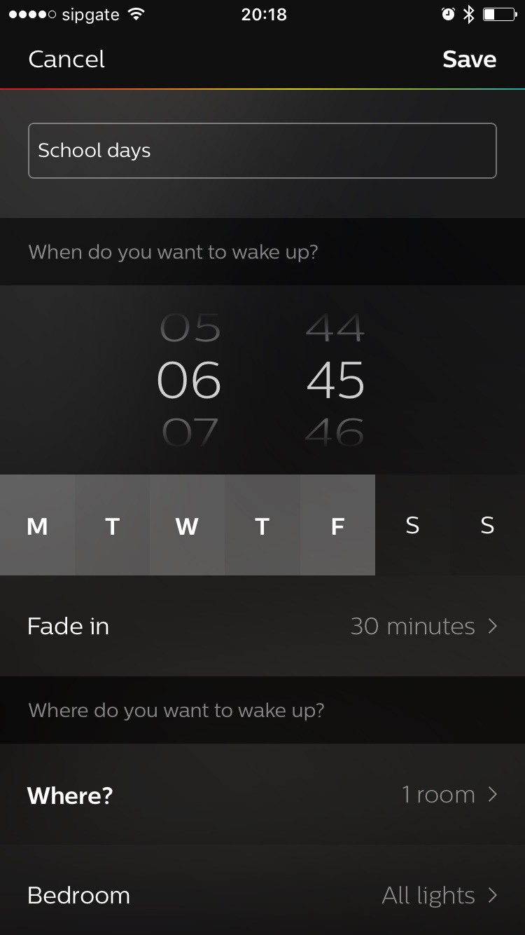 Screenshot of setting a new routine in Philips Hue iPhone app