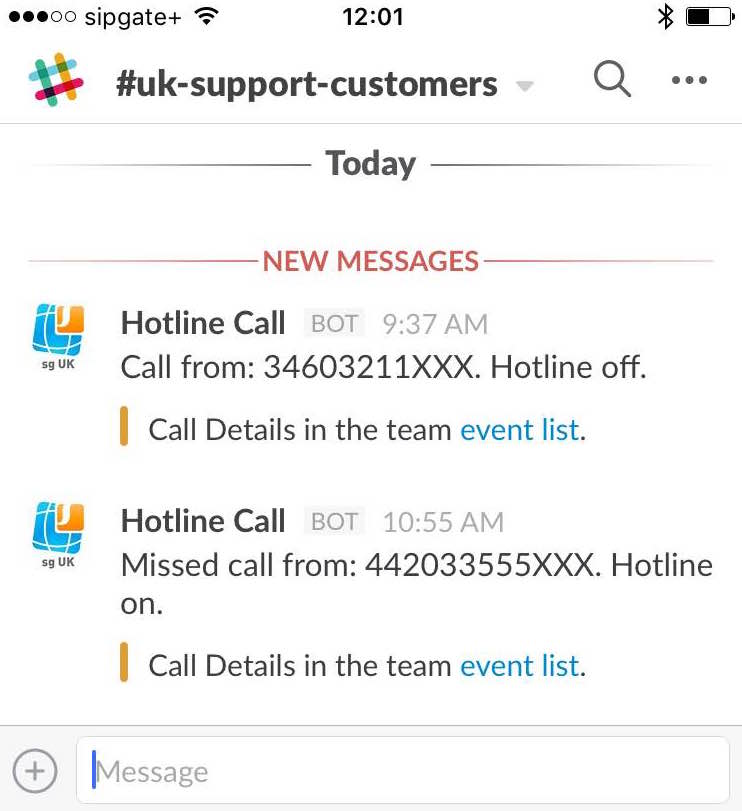 Screenshot of slack iphone client showing sipgate calls